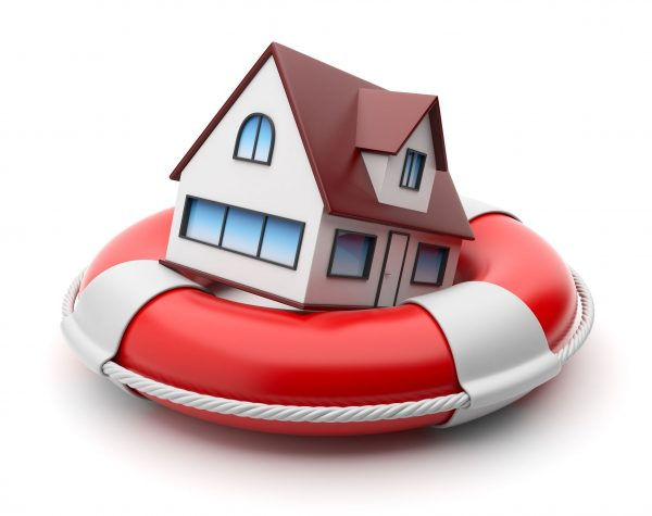 A 3D model of a house floating on a life raft - Baer Insurance LLC - Colorado insurance Agency